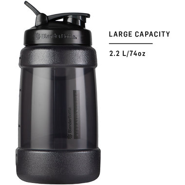BLENDERBOTTLE | KODA voor water - Zwart 2.2 liter | Bidon. Mooi ontworpen waterfles die alle kwaliteiten heeft van de BlenderBottle familie. Zonder Blenderball.