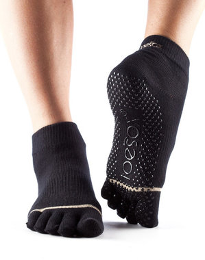 TOESOX ™ - Full Toe Ankle Black Small. (Maat: extra small - small)