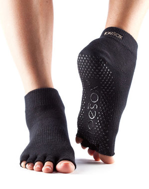 TOESOX ™ - Half Toe Ankle Black Large. (Maat: medium - large)