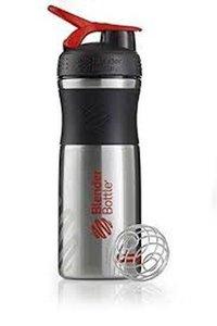 BlenderBottle™ SPORTMIXER RVS Zwart/Rood met oog - Eiwitshaker / Bidon  - 820 ml